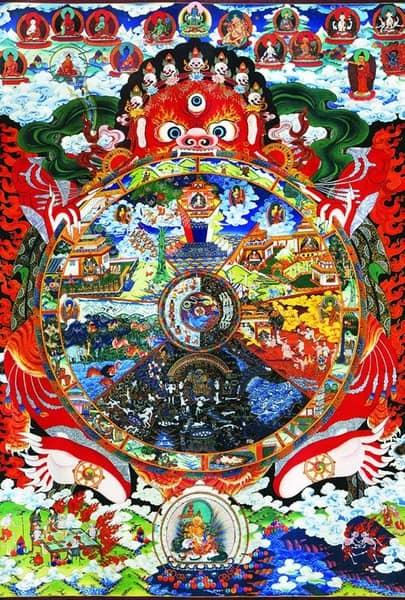 Một đề tàiđặc biệtphổ biến của Tranh Thangka Tây TạnglàPháp luân.