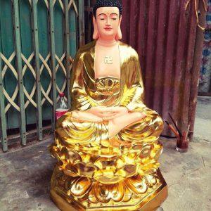 Tượng Phật A Di Đà dát vàng ngồi 90cm