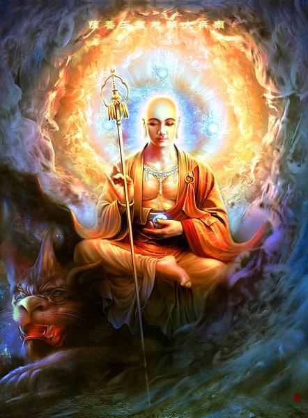 Hình tượng Địa Tạng Vương Bồ Tát là hình tướng người xuất gia, đội mão hoặc để đầu trần.