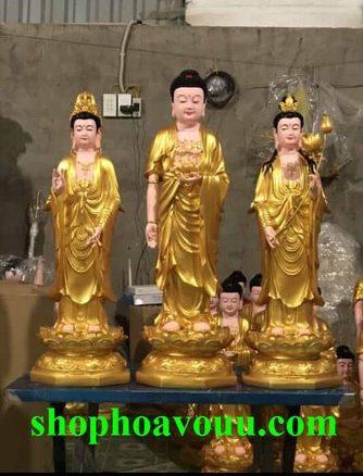 Tây Phương Tam Thánh Sen Vàng 70 cm