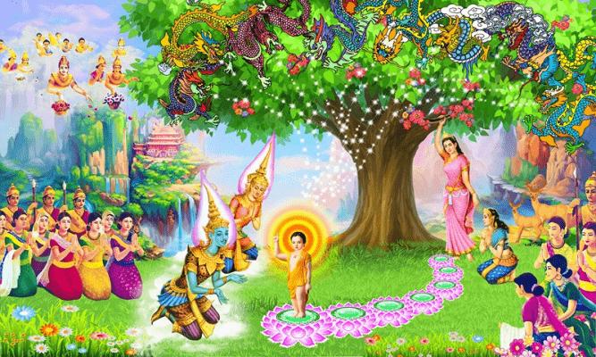 Đức Phật đản sanh liền đi 7 bước