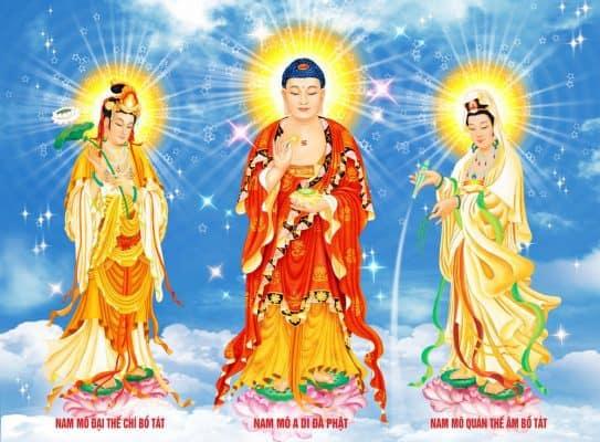 Ở Thế Giới Cực Lạc có ba vị đứng đầu hàng thánh chúng được gọi là Tây Phương Tam Thánh