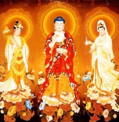 Tây Phương Tam Thánhgồm ba vị Phật đại diện cho những đức hạnh tốt đẹp