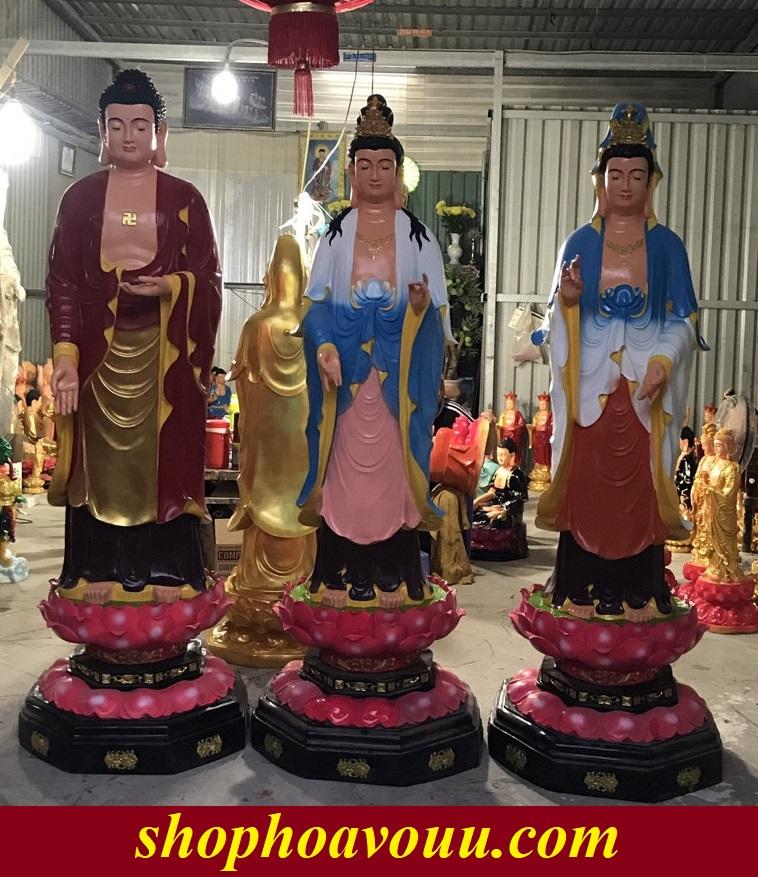 Tây Phương Tam Thánh màu 2Tây Phương Tam Thánhgồm ba vị Phật đại diện cho những đức hạnh tốt đẹp mà chúng ta luôn hướng tớim